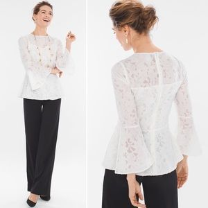 NWT Chico's White Lace Bell Sleeve Blouse